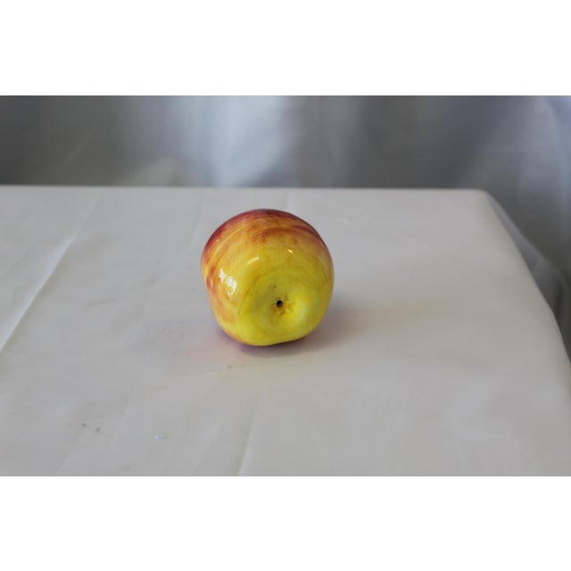 Italian Hand-Painted Ceramic Red Apple For Sale - Image 4 of 5