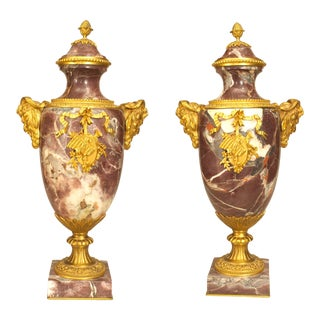 French Victorian Neoclassical Levanto Marble Urns - a Pair For Sale