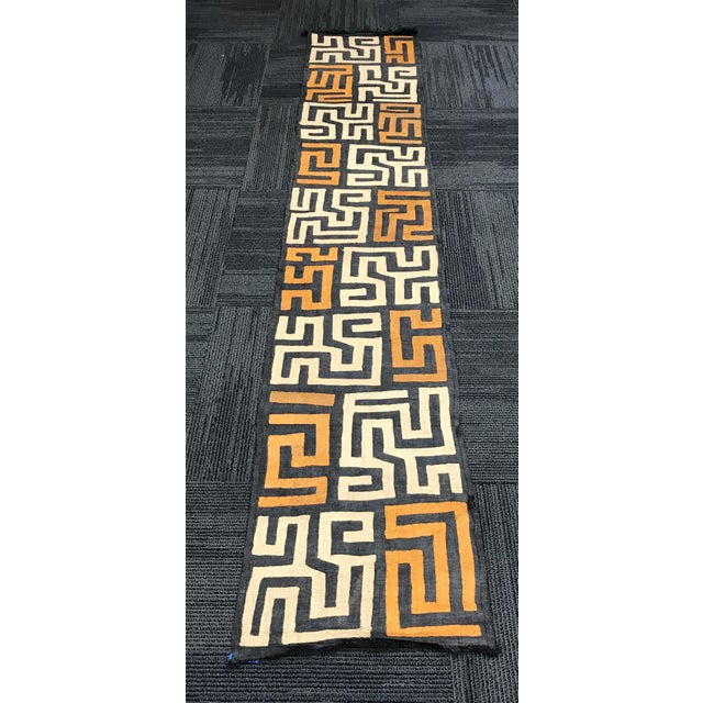 """100% Authentic African Art handwoven kuba cloth. Democratic Republic of Congo Made of Raffia Excellent Condition 114"""" long..."""