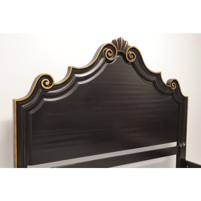 French Country Drexel Heritage French Country King Size Bed in Black & Gold For Sale - Image 3 of 10