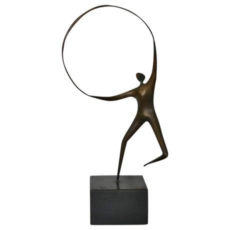 Curtis Jere Bronze Hoop & Figure - Image 1 of 5