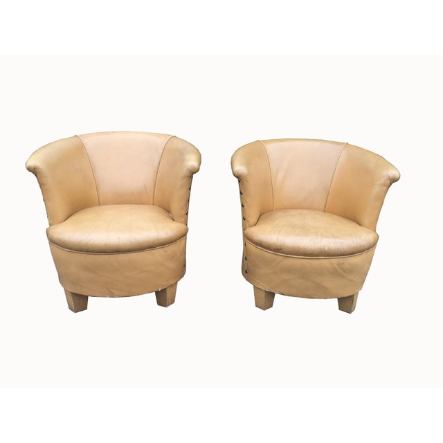 Vintage Spanish Barrel Back Leather Chairs- a Pair For Sale - Image 13 of 13