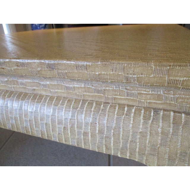 1970s 1970s Baker Label - Karl Springer Style Linen Grass Cloth Wrapped Coffee Table For Sale - Image 5 of 10