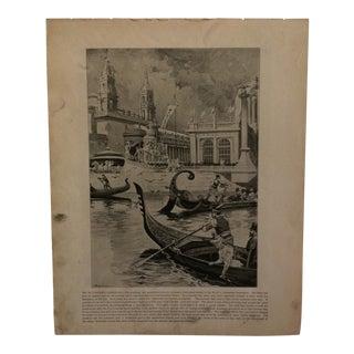 "Antique World's Columbian Exposition Print ""The Picturesque Gondolas"" For Sale"