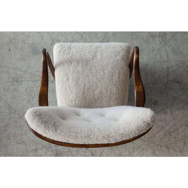 Wood Slagelse Mobelvaerk Model 117 Lounge Chair in Lambswool Danish Midcentury For Sale - Image 7 of 9