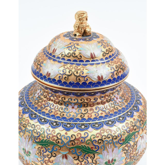 Brass Covered Decorative Gilded Cloisonne Urn For Sale - Image 7 of 10