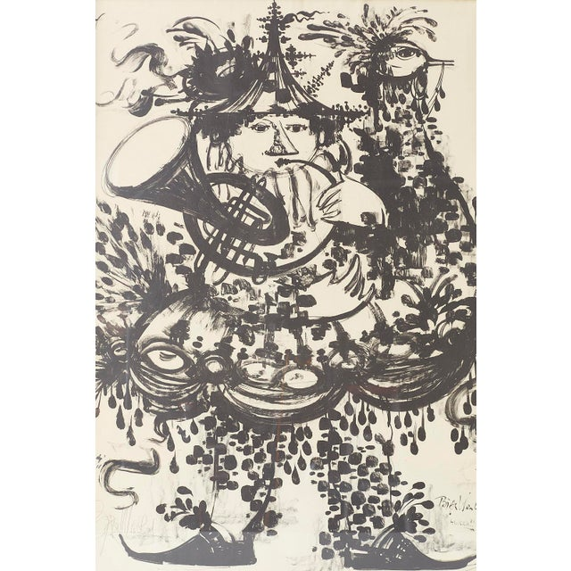 Bjorn Wiinblad Pair of Bjorn Wiinblad Lithographs of Musical Players For Sale - Image 4 of 13