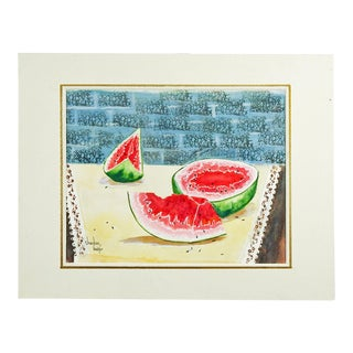 Watermelon Still Life Watercolor Painting For Sale