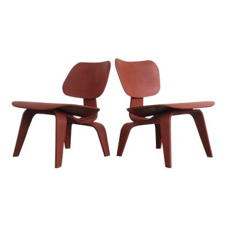 Set of Two Custom Eames for Herman Miller LCW Lounge Chairs in Rust Red For Sale