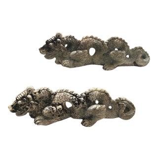 Antique Cast Stone Garden Dragons -A Pair For Sale