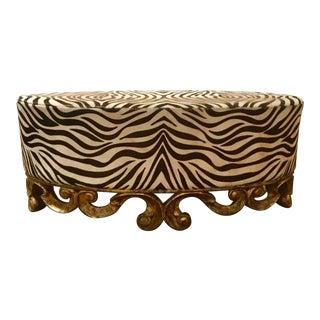 Christopher Guy Vintage Zebra Hide Upholstered Carved Oval Ottoman For Sale