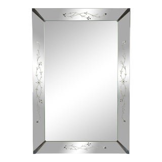 Venetian Style Etched Wall Mirror For Sale