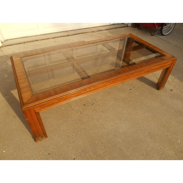 Burl Coffee Table Legs: Mid-Century Burl Wood & Brass Coffee Table
