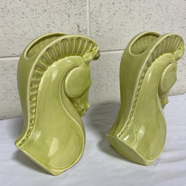 Hollywood Regency Chartreuse Ceramic Trojan Horse Head Vases - a Pair For Sale - Image 3 of 12