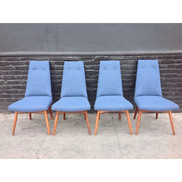 Mid-Century Modern Blue Adrian Pearsall Dining Chairs - Set of 4 For Sale - Image 3 of 6