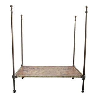 Antique Brass 4 Poster Twin Bed For Sale