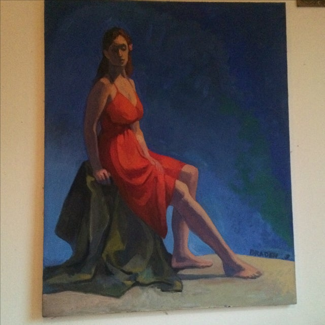 Painting of a Woman in a Red Dress - Image 2 of 4