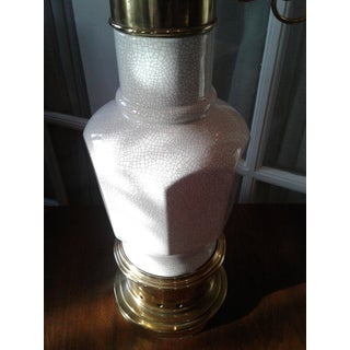 Stiffel Brass & Crackle Glaze Ceramic Torchiere Table Lamp Preview