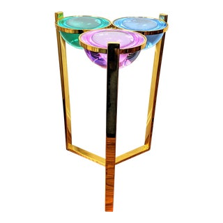 Jonathan Adler Globo Acrylic & Polished Brass Side Table For Sale
