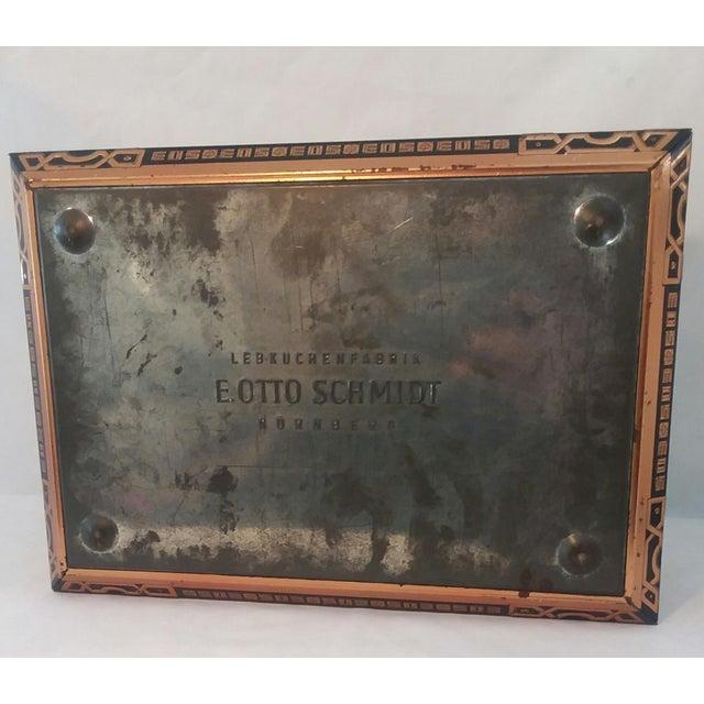 Metal Antique E. Otto Schmidt Nuremberg Large Biscuit Tin - Medieval Scenes For Sale - Image 7 of 8