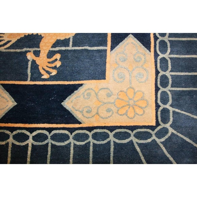 Textile Chinese Art Deco Blue Rug - 12′ × 15′4″ For Sale - Image 7 of 10