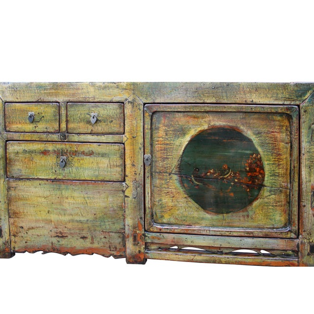 Chinese Distressed Green Brown Oriental Flower Graphic Tv Console Cabinet For Sale - Image 9 of 10