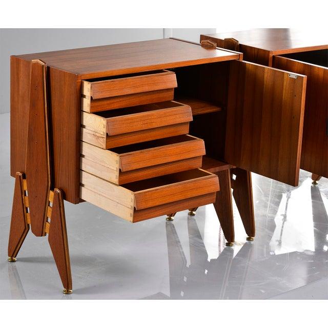 Brown Pair Mid Century Italian Adjustable Height Teak Side Cabinets For Sale - Image 8 of 13