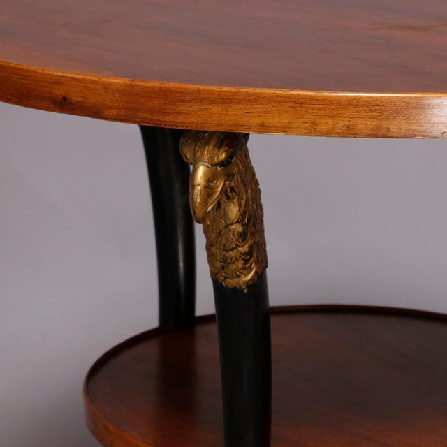 Wood Vintage French Empire, Figural Ebonized & Gilt Mahogany Lamp Stand For Sale - Image 7 of 10