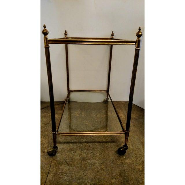 Hollywood Regency Vintage Brass Bar Cart For Sale - Image 3 of 9