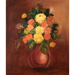 1970s Vintage Floral Still Life Oil Painting For Sale