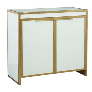 Lillian August for Hickory White Contemporary White and Gold Clifton Bar Cabinet For Sale