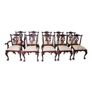 1990s Vintage Mahogany Chippendale Style Dining Room Chairs