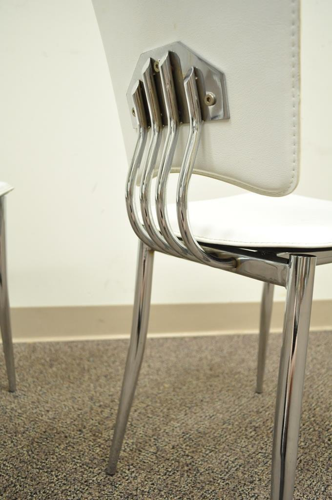 4 Sleek Contemporary Modern Bent Chrome U0026 Leather Retro Style Dining Side  Chairs For Sale