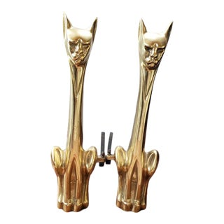 1950s Mid Century Modern Brass Siamese Cat Fireplace Andirons - a Pair For Sale
