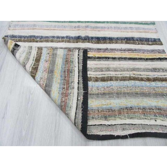 """Vintage Striped Rag Rug - 5'3"""" x 11'5"""" For Sale - Image 5 of 6"""