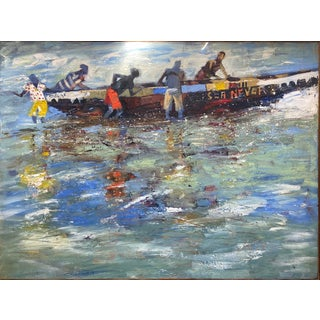 Robert Aryeetey (Ghanaian) Five Figures Launching a Boat Named 'Sea Never' Painting For Sale