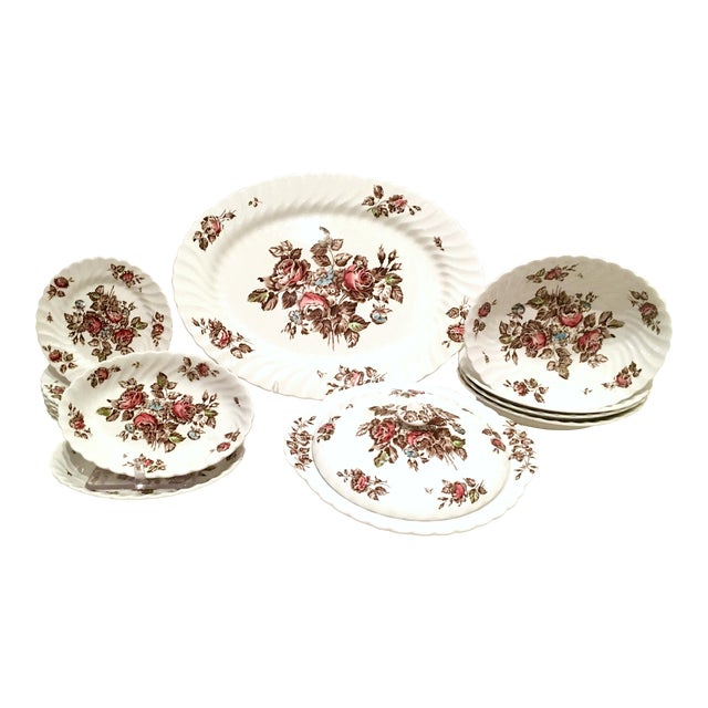 "Vintage English Ironstone ""Devon Sprays"" Dinnerware by Johnson Brothers - Set of 16 For Sale"