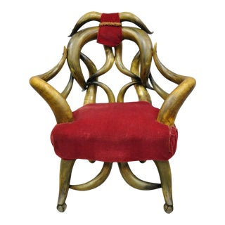 19th C Victorian Antique Steer Horn Parlor Club Chair For Sale
