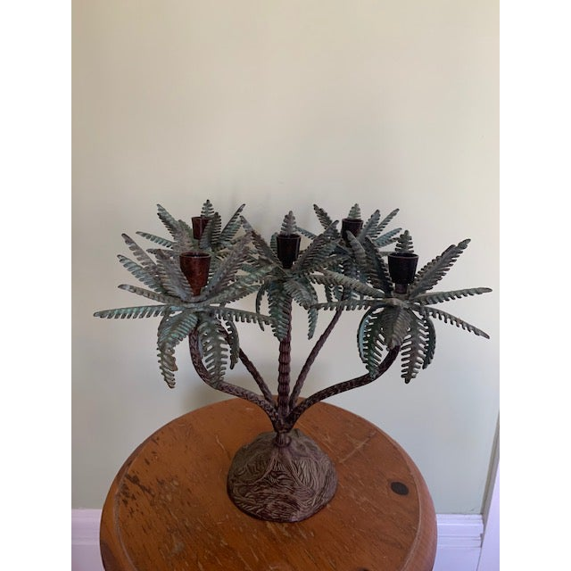 Metal 1960s Tole Palm Tree Candelabra Taper Holder For Sale - Image 7 of 7