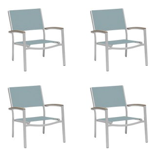 Outdoor Sling Lounge Chair, Vintage and Slate (Set of 4) For Sale