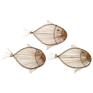 Vintage Split Reed Fish Textile Wall Decor - Set of 3 For Sale