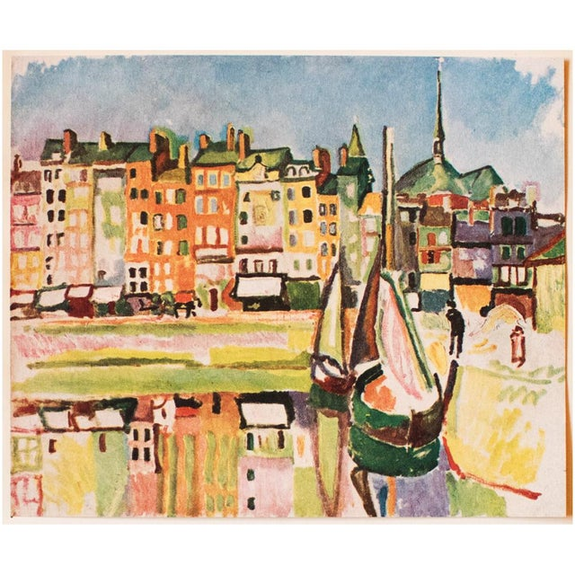 """A beautiful vintage original period tipped-in lithograph after painting """"Le Port D'Honfleur"""" (1906) by Raoul Dufy. Printed..."""