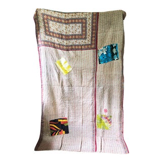 Kantha Hand-Stitched Patchwork Quilt For Sale