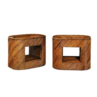Exceptional Restored Pair of Bamboo Display End Tables, circa 1975 For Sale