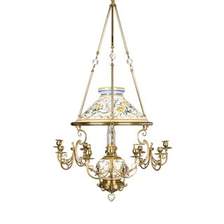 19th C. French Gien Oil Lamp Chandelier For Sale