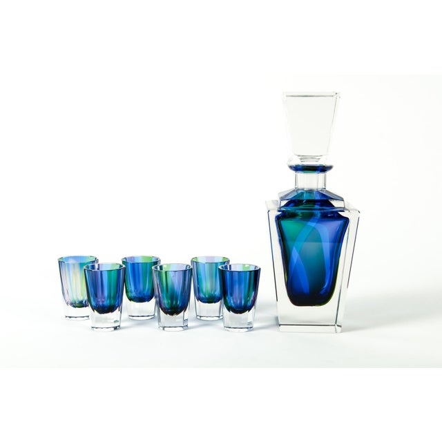 Mid 20th Century Mid 20th Century Cut Crystal Liqueur Decanter Set - Set of 7 For Sale - Image 5 of 5