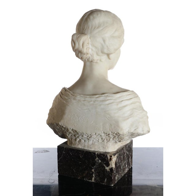 Antique Italian Marble Bust of a Female For Sale - Image 9 of 11