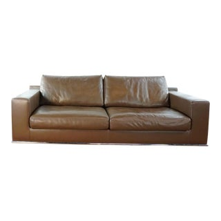 Contemporary Jesse Italia Brown Leather Sofa For Sale