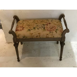 Vtg Louis XVI Regency French Provincial Caned Bench Floral Linen Preview