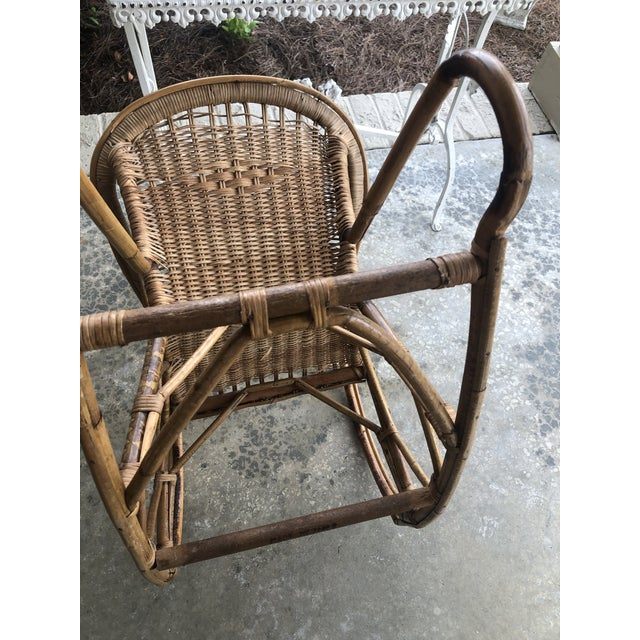 Antique Italian Bamboo/Wicker Child Rocking Chair For Sale In Birmingham - Image 6 of 9